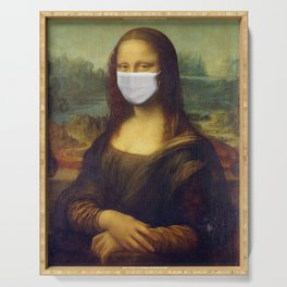 Mona Lisa with Respirator Mask Serving Tray