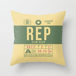 Baggage Tag B - REP Siem Reap Cambodia Throw Pillow