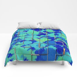 Abstract Squares Blue & Green Comforters
