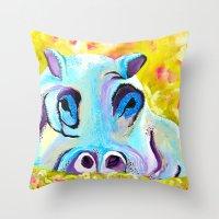 hippo Throw Pillows featuring Hippo by Mandy Kopelke Art