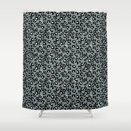Grey and Black Leopard Spots Animal Print Pattern Shower Curtain