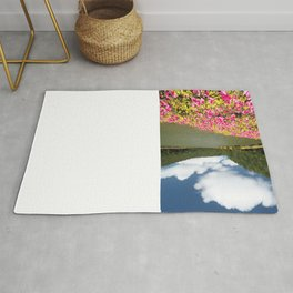 Azaleas and lake in Azores Rug