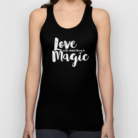 LOVE is the closest think to magic - Saying on peach background - on #Society6 Unisex Tank Top