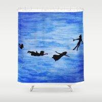 neverland Shower Curtains featuring Neverland by Sierra Christy Art
