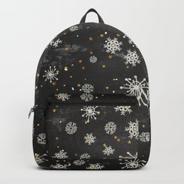 Boho Black Snowflakes Backpack
