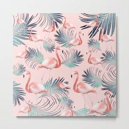 Blush Flamingo Palm Vibes #2 #pastel #tropical #decor #art #society6 Metal Print