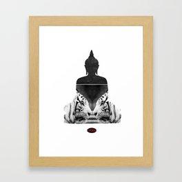 White Tiger Buddha Framed Art Print