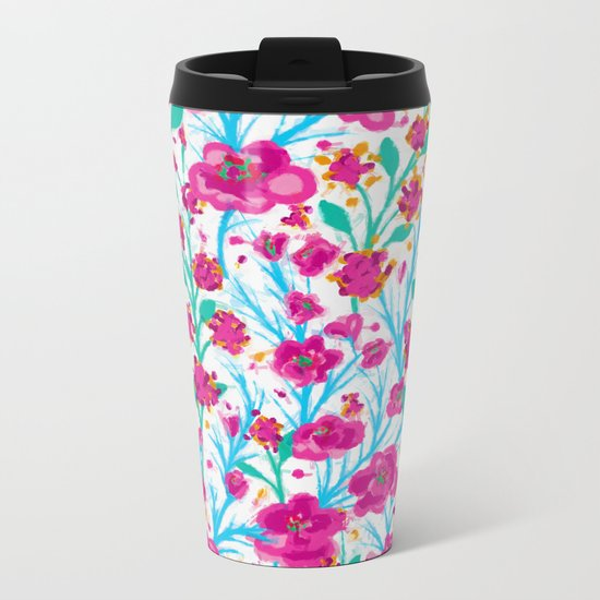 There are many flowers Metal Travel Mug