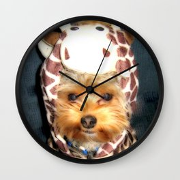 Dog | Happy Giraffe | Yorkie Puppy | Dogs | Puppies | Pets Wall Clock