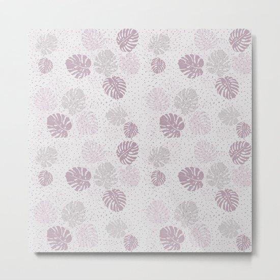 Monstera Lilac Metal Print