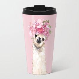 Llama with Flower Crown Travel Mug