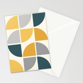 Mid Century Circles Yellow Stationery Cards