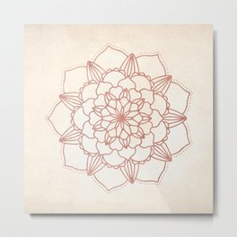 Mandala Bloom Rose Gold on Cream Metal Print