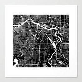 CALGARY MAP ART (BLACK) Canvas Print