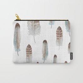 Neutral Feathers Carry-All Pouch