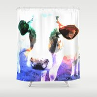 cow Shower Curtains featuring cow by Sarah Jane Connors