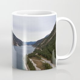 dolomites alps road lake trees forrest drone aerial shot horizon clouds junction Coffee Mug