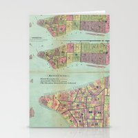 political Stationery Cards featuring Vintage NYC Political Ward Map (1870) by BravuraMedia