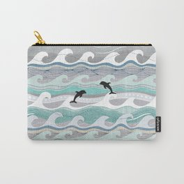 dolphins and waves Carry-All Pouch