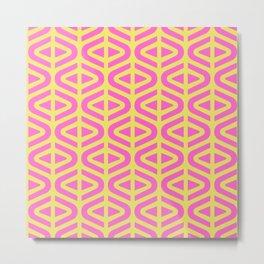 Mid Century Modern Split Triangle Pattern Pink and Yellow Metal Print