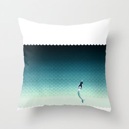 Suomu Blue mermaid scale pattern with a mermaid Shower curtain or Duvet cover Throw Pillow
