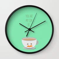 wallet Wall Clocks featuring 'You are my cup of tea!' by aPersonalidea