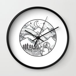 Brontosaurus Astronaut Mountain Circle Tattoo Wall Clock