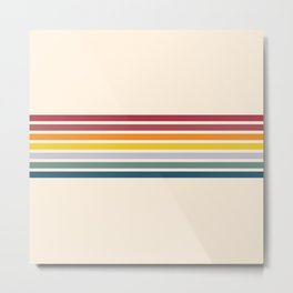 Enera - Classic 70s Vintage Style Retro Stripes Metal Print