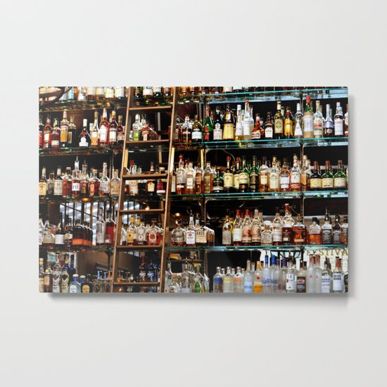 BOTTLES ALL IN A ROW Metal Print