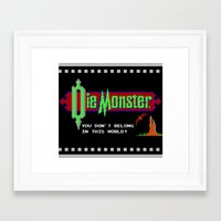 castlevania Framed Art Prints featuring Castlevania - Die Monster. You Don't Belong In This World! by Aaron Campbell