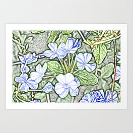 Blue flowers with green leaves sketch floral design Art Print