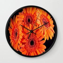 Orange Gerber Daisies Wall Clock