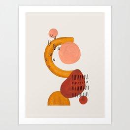 'Boomerang' Earth Tones Neural Warm Colors Fun Space Shapes Yellow Ochre Tan Brown by Ejaaz Haniff Art Print