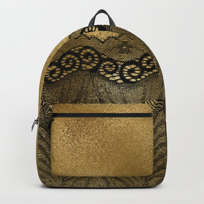 Black floral luxury lace on gold effect metal background Backpack