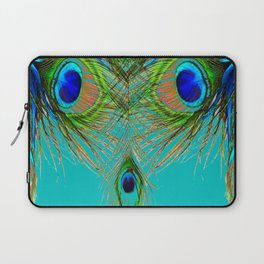 TURQUOISE BLUE-GREEN PEACOCK FEATHERS ART Laptop Sleeve