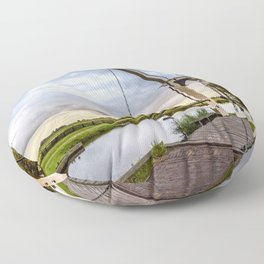 Canal and Bridge in Netherlands at Sunset Floor Pillow