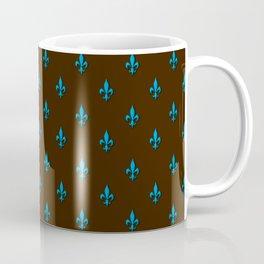 Blue & Brown Fleur-de-Lis Pattern Coffee Mug