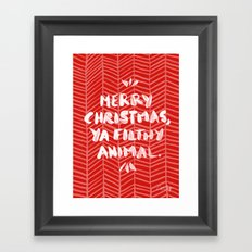 Merry Christmas, Ya Filthy Animal – Red Framed Art Print