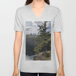 Beside The Falls, Beautiful Old Pine Tree Stands Sentry Beside A Watefall Unisex V-Neck