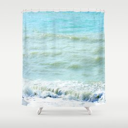 frothy surf (thank you, moon) Shower Curtain