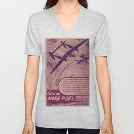 Vintage poster - Give Us More P-38's Unisex V-Neck