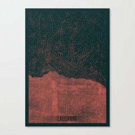 Lausanne Map Red Canvas Print
