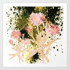 flowers and splash Art Print