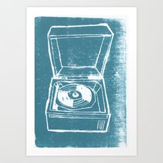 Record Player Lino Art Print