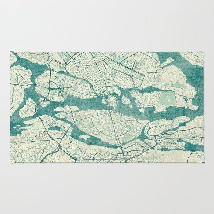 Stockholm Map Blue Vintage Rug