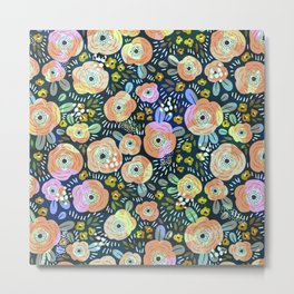 Colorful abstract flower collage pattern Metal Print