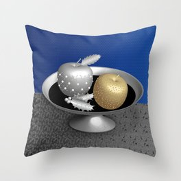 Gold and Silver Christmas Apples on a Silver Pedestal Throw Pillow