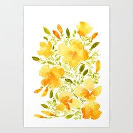 Watercolor California poppies (Quad set, #1) Art Print