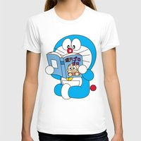 comic book T-shirts featuring Doraemon Reading Comic Book by Timeless-Id