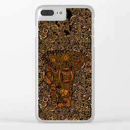 Aztec Elephant With Floral Pattern Clear iPhone Case